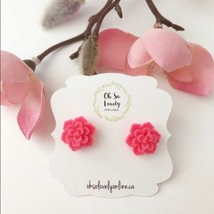 3/$30 hot pink succulent earrings
